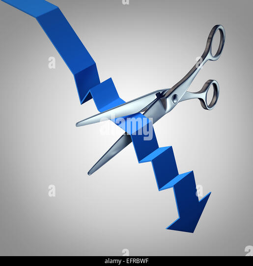 Cut losses financial concept to salvage an investment as scissors cutting a downward finance chart arrow as a business - Stock-Bilder