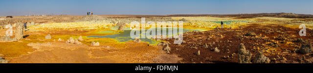 Dried sulphur pools on the summit of Dallol salt volcano, Ethiopia - Stock Image