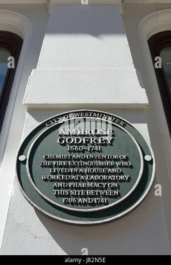 city of westminster green plaque marking a home and workplace of chemist and inventor ambrose godfrey, covent garden, - Stock Image