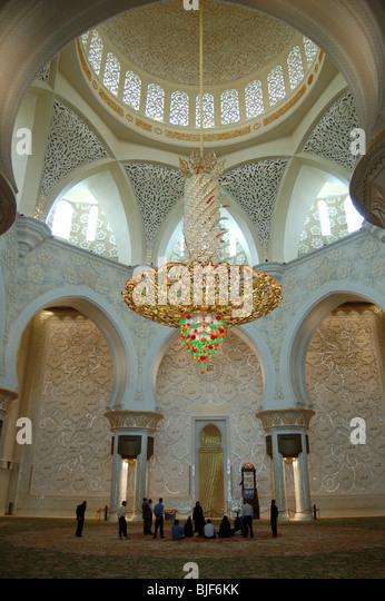 Interior of Sheikh Zayed Bin Sultan Al Nahyan Mosque, Abu Dhabi - Stock Image