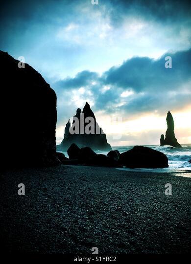Reynisfjara black sand beach, Iceland - Stock Image