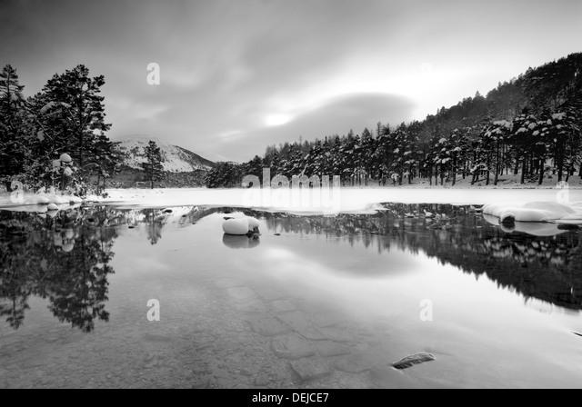 Half frozen Loch in Avimore Scotland -15 - Stock-Bilder