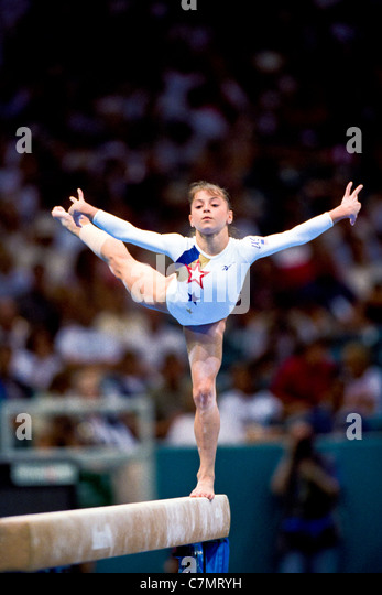 Dominique Moceanu (USA) competing at the 1996 Olympic Summer Games. - Stock Image
