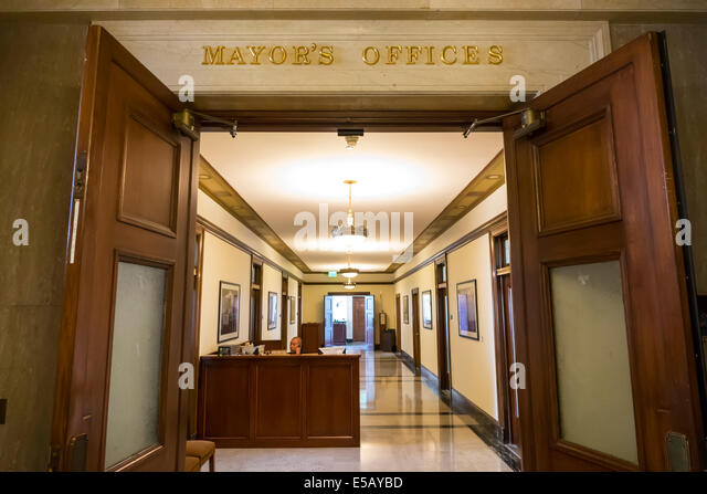 California CA Los Angeles L.A. Downtown Civic Center district Los Angeles City Hall 1928 historic interior Mayor's - Stock Image