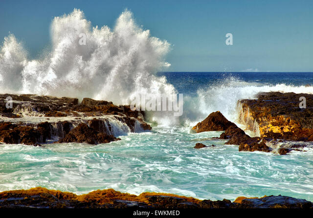 Breaking wave. Hawaii, The Big Island. - Stock Image