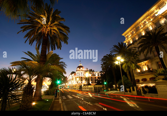 France, Nice, Promenade des Anglais, Hotel Negresco at night - Stock Image
