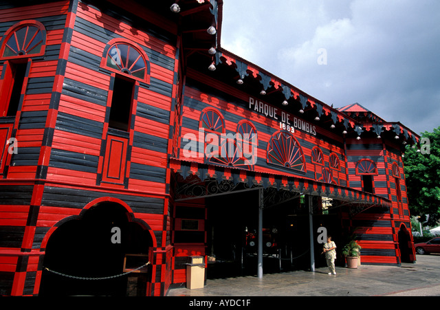 Ponce city, town Puerto Rico, Parque de Bombas famous red firehouse, iconic landmark building, architecture - Stock Image
