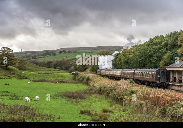 East Lancashire Railway Autumn steam gala held the weekend Oct 19/20th 2013. Irwell Vale Halt station at Ewood Bridge. - Stock Image