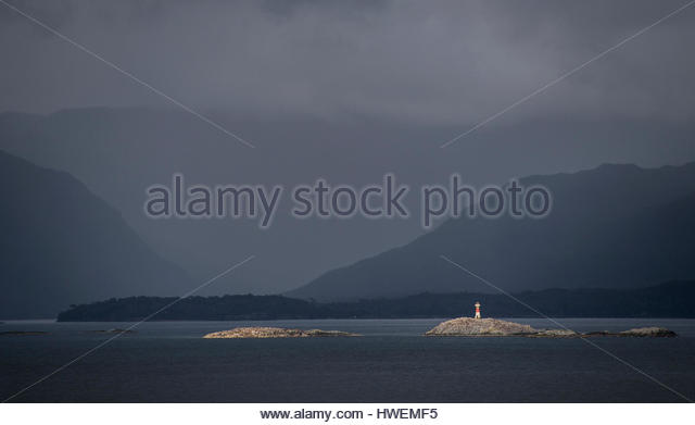 Light house in the Patagonian fjords, Chile - Stock-Bilder