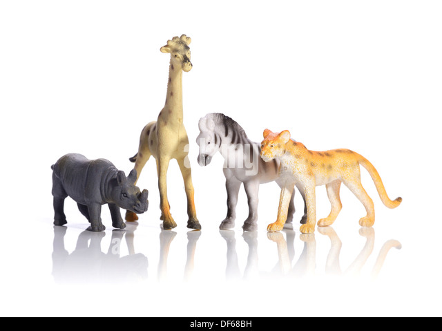 Plastic toy wild animals - Stock Image