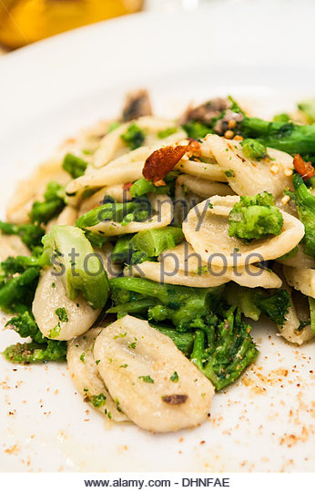orecchiette with turnip greens - Stock Image