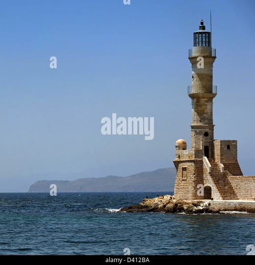 Chania lighthouse, Crete - Stock Image