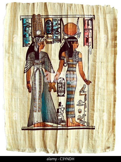 Papyrus with elements of Egyptian ancient history - Stock Image
