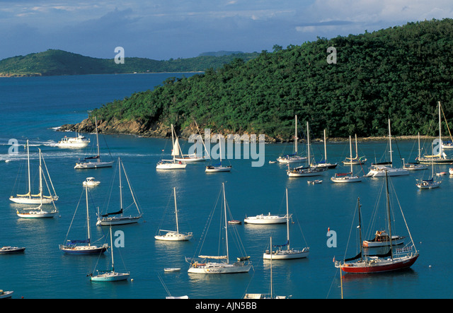 St John U S Virgin Islands Sailboats at Cruz Bay twilight - Stock Image