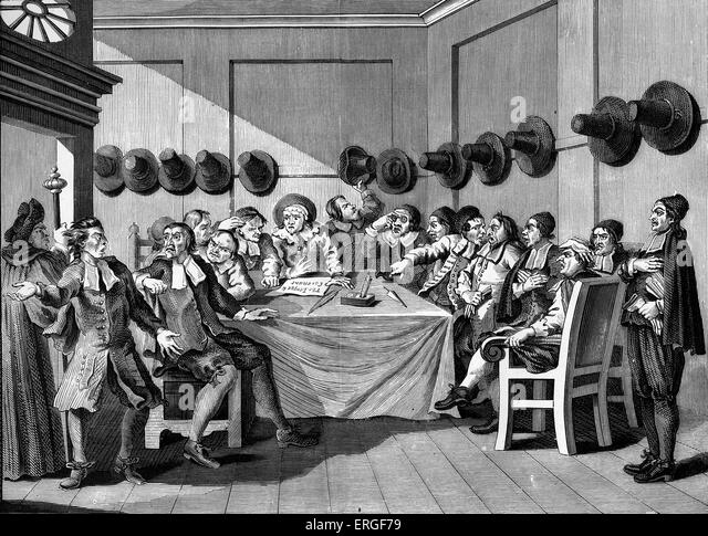 Hudibras - Plate IX - The Committee by William Hogarth. WH: English artist - 1697 -1764. - Stock Image
