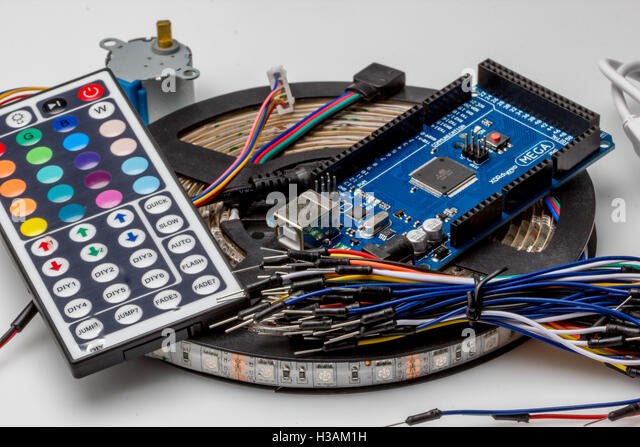 Many colorful electronic devices and led lights - Stock Image