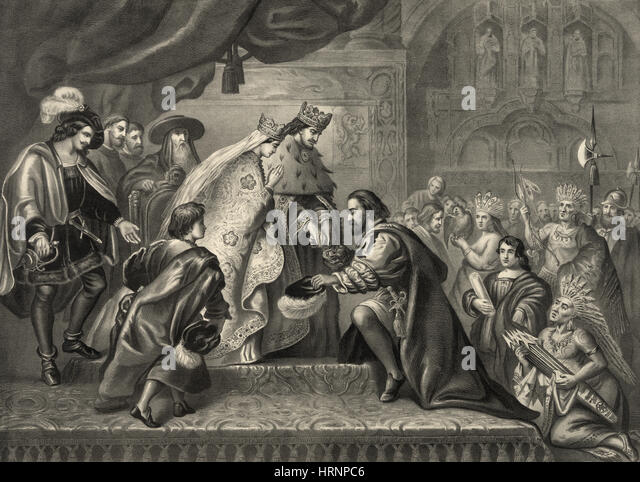 Columbus Received by Ferdinand and Isabella - Stock Image