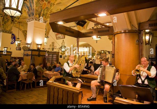 Hofbraeuhaus with brass band Munich Germany - Stock Image
