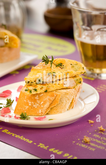 Barcelona omelette open sandwich - Stock Image