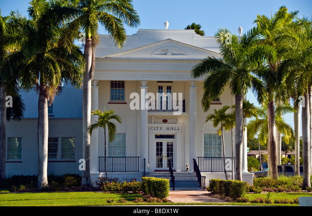 Historic Everglades City Hall Everglades City Florida historic building Everglades National Park - Stock Image