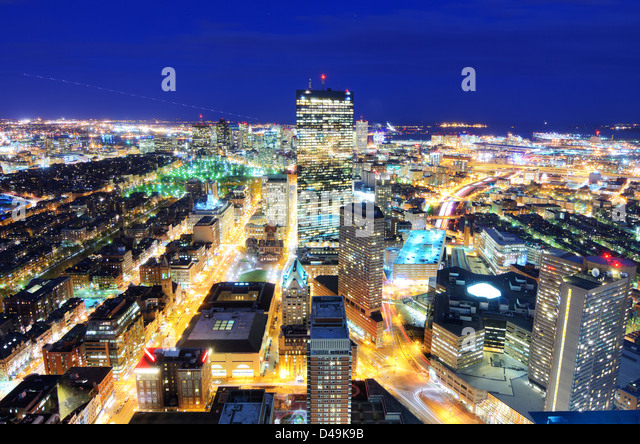 Aerial view of downtown Boston, Massachusetts, USA. - Stock Image