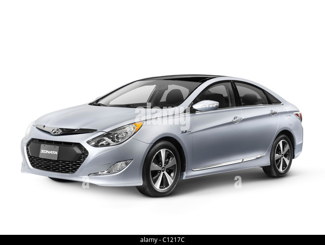 2011 Hyundai Sonata Hybrid Premium isolated car on white background with clipping path - Stock Image