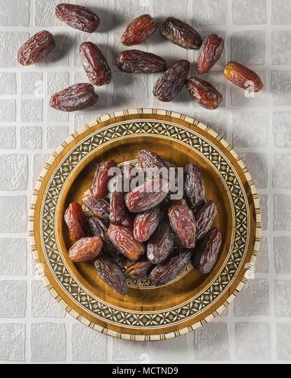 Medjool dates. Dried fruit. Food - Stock Image