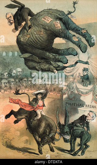 Political cartoon 1882 Chester A. Arthur riding the Republican elephant tossed high in the air in a 'Political - Stock Image