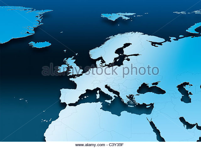 map, Western Europe, blue, political - Stock Image