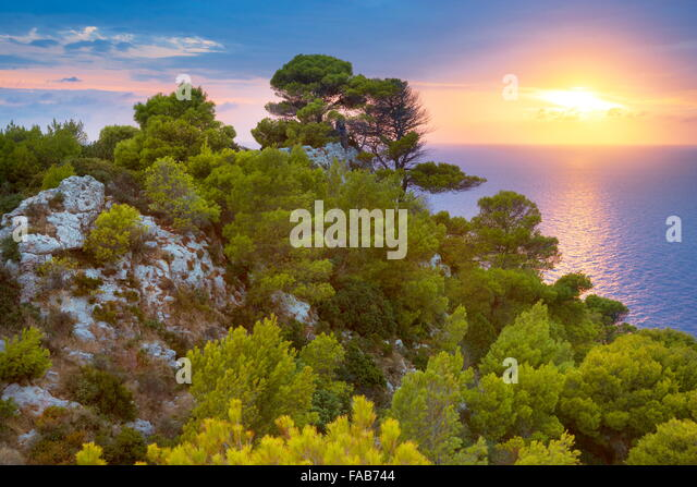 Greece - Zakynthos Island, Ionian Sea, sunset from Keri - Stock Image
