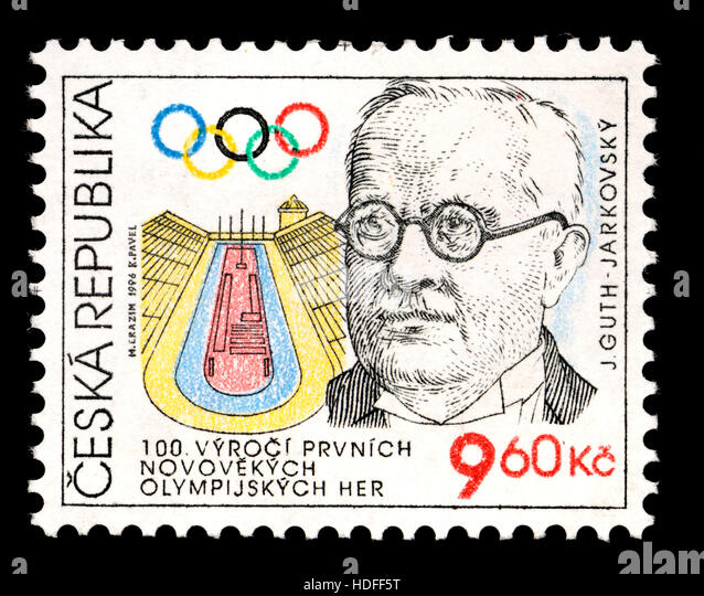 Postage stamp from Czech Republic (1996) - 100th anniversary of the first modern Olympic Games / Jirí Guth - Stock Image