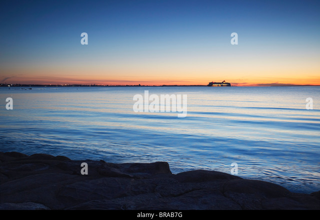 Tallink Ferry on horizon coming into port, Tallinn, Estonia, Baltic States, Europe - Stock Image