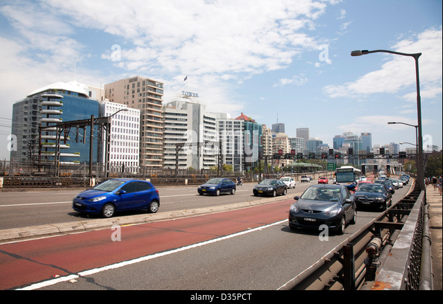 Commuter traffic on the northern end of Sydney Harbour Bridge - Stock Image