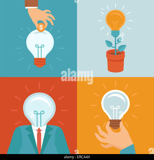 Idea concepts in flat style - light bulbs icons - innovation and inspiration illustrations - Stock Image