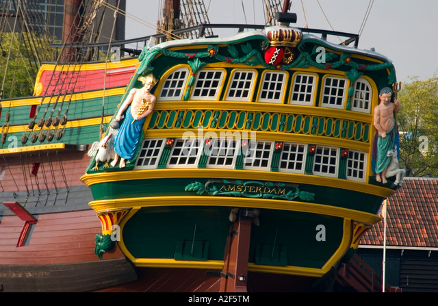 Amsterdam Maritime musem Replica of East Indian vessel Amsterdam - Stock Image