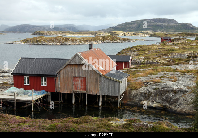 Fishing cabin on the island of Villa near Rorvik, west Norway, Norway, Europe - Stock Image