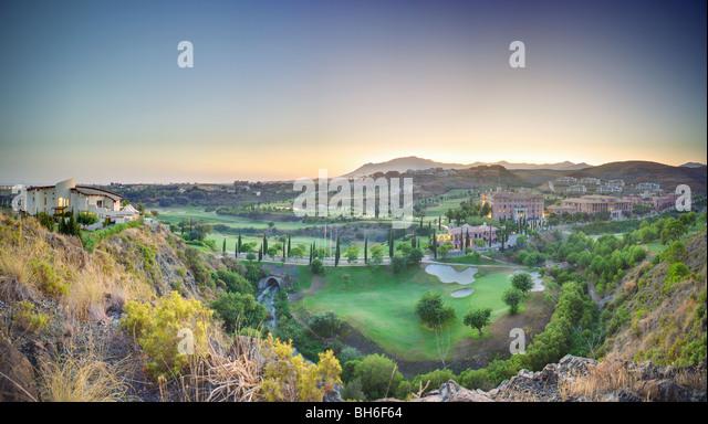 Spanish golf course at dusk - Stock Image