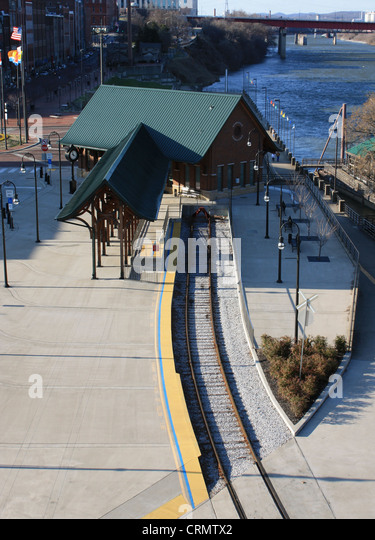 Nashville Riverfront train station as seen from the Shelby Street Bridge - Stock Image