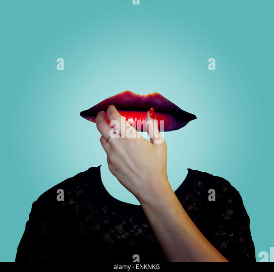 surreal portrait, lipstick, creative photography, artistic, photoshop manipulation, red lipstick, hand, blue, color - Stock Image