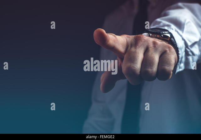 You are fired concept, boss gesturing way out hand sign with index finger - Stock-Bilder