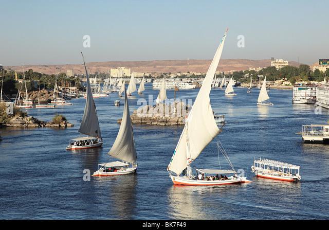 Felucca boats on nile cataract - Stock Image
