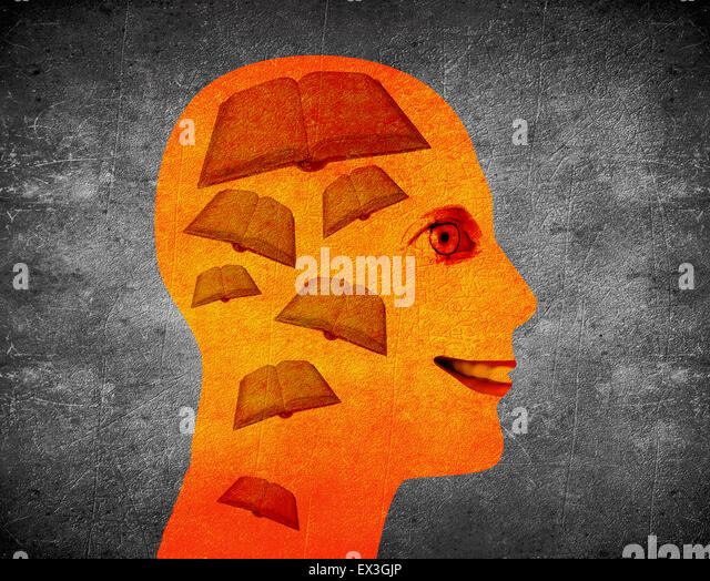 reading book illustration concept with human head and books - Stock Image