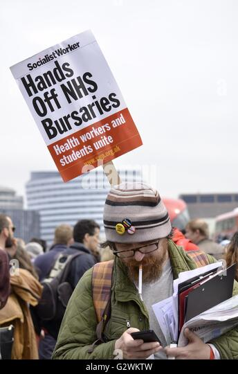 London, UK. 04th June, 2016. March to SAVE The NHS bursary. Defend bursaries health workers strike together. Credit: - Stock Image