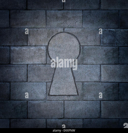 Opportunity discovery as a wall made of concrete blocks with one cinder block shaped as a key hole as abusiness - Stock Image