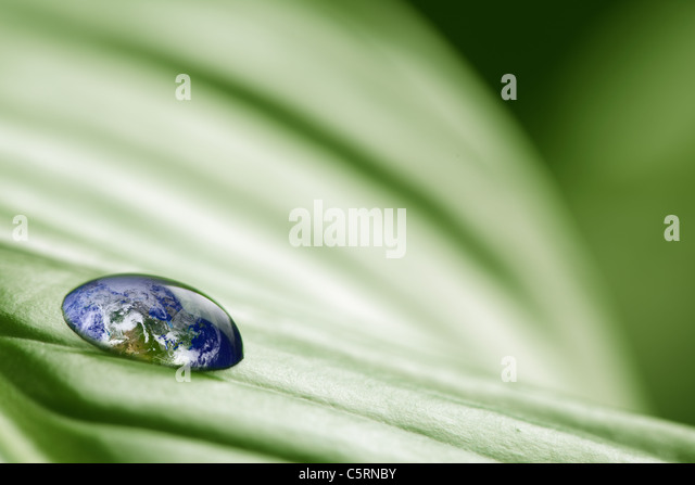 Planet earth in drop of water - Stock Image