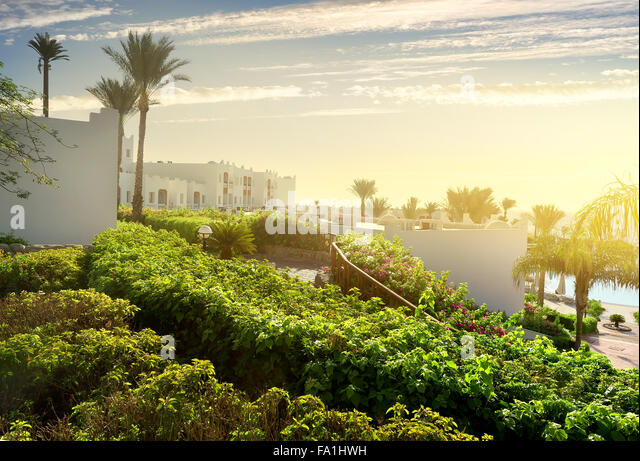 Resort in Sharm el Sheikh at sunrise - Stock-Bilder