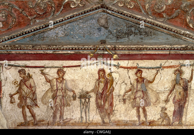 Roman feast stock photos roman feast stock images alamy for Ancient roman mural