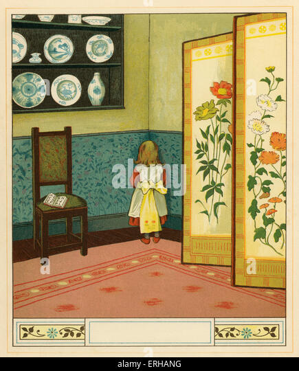 Victorian child sent to stand in  the corner as punishment, an illustration by J.G. Sowerby 1881. A girl, who has - Stock Image