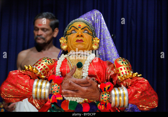 Kathakali, a classical Indian dance-drama, temple dance, Kerala Kathakali Centre, Kochi, Fort Cochin district, Ernakulam - Stock Image