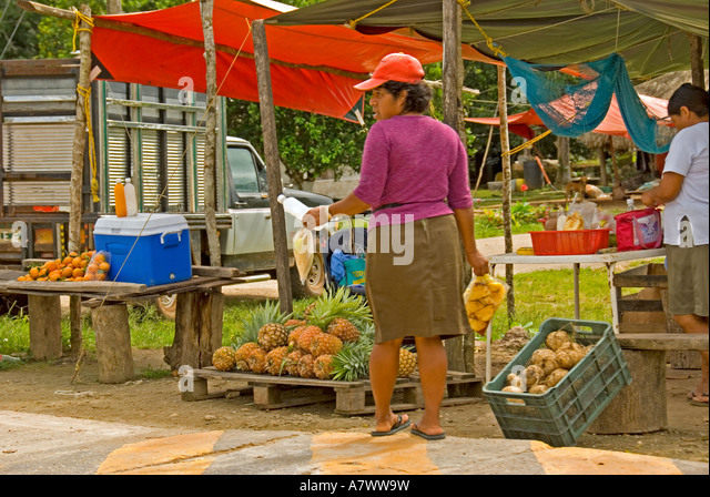 Costa Maya  Mahahual Majahual fishing village - Stock Image